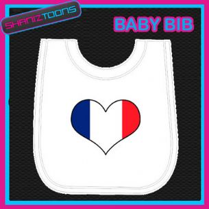 FRANCE FRENCH HEART FLAG I LOVE WHITE BABY BIB EMBROIDERED